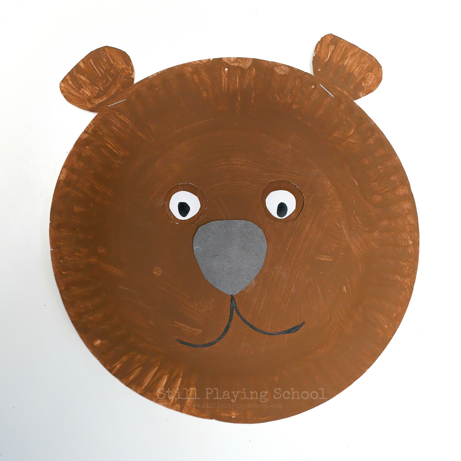 Carefully fold the other paper place to cut out two eye holes. Using a paper brad secure the two painted plates together with the larger one with the holes ...  sc 1 st  Still Playing School & Hibernating Bear Craft for Kids | Still Playing School