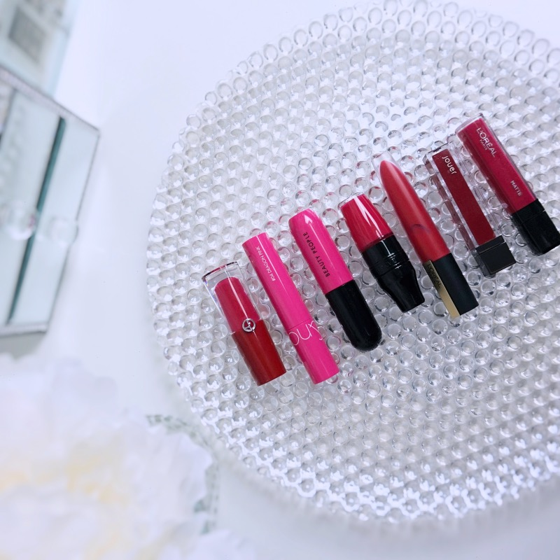 Hot pink lip tint swatches