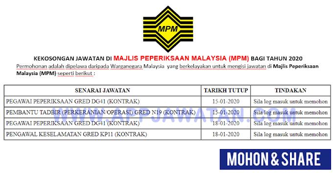 Jawatan Kosong Terkini di Majlis Peperiksaan Malaysia (MPM).
