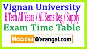 Vignan University B.Tech All Years / All Sems Reg / Supply Apr-May 2017 Exam Time Table Part III