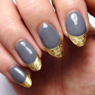 Grey and Gold French Tips