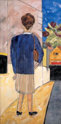 Back view of novelist Anita Brookner by her Chelsea neighbour R. B. Kitaj