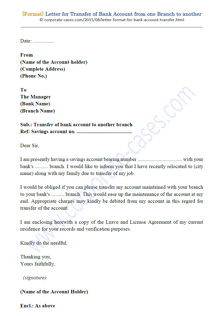 letter for transfer bank account to another branch