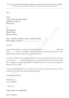 letter to bank manager for transfer of account from one branch to another