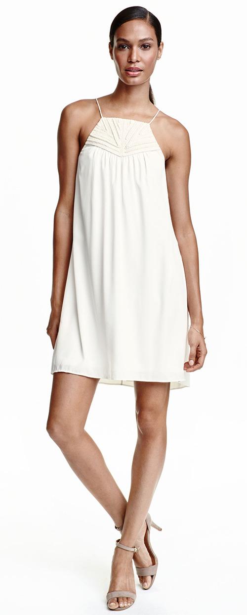 Robe courte blanche été fines bretelles H&M