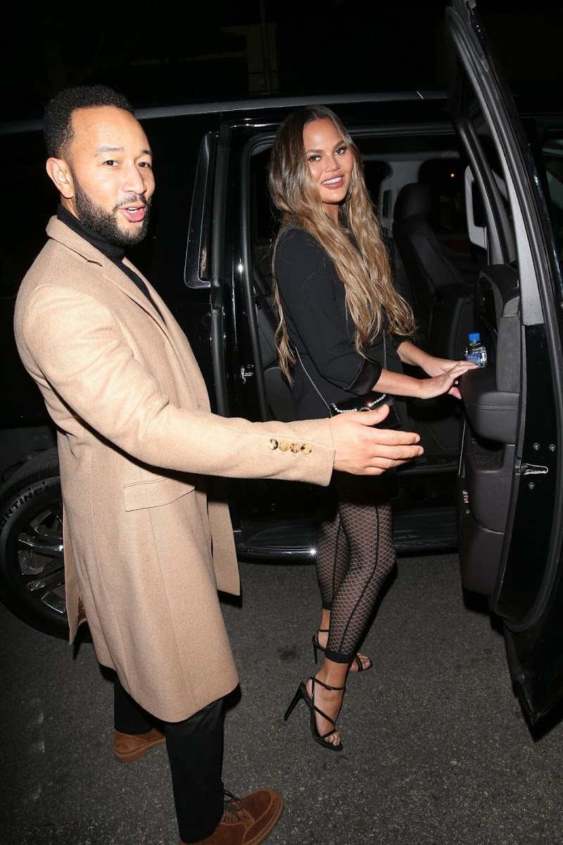 Chrissy Teigen and John Legend Clicks at Madeo Restaurant in Beverly HIlls 27 Feb-2020