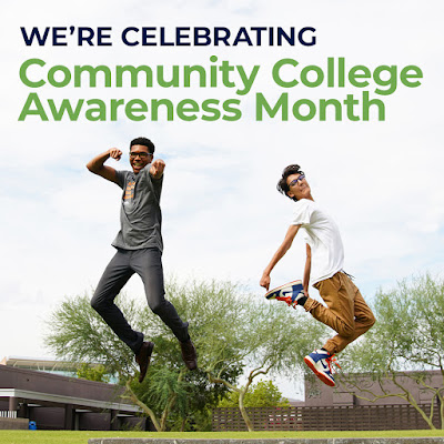 "Graphic shows two people jumping in the air. The words ""We're celebrating community college awareness month"" shows at the top of the graphic"