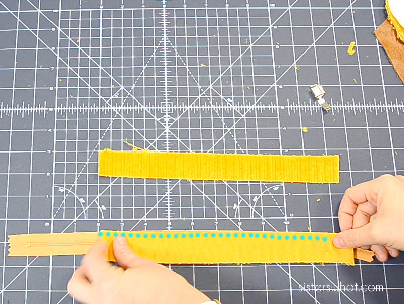sew straps on zipper