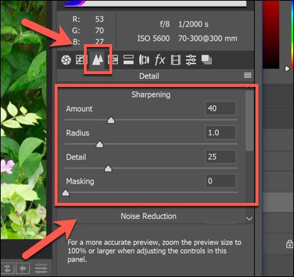 خيارات Sharpening لصورة في خيارات Camera Raw في Photoshop