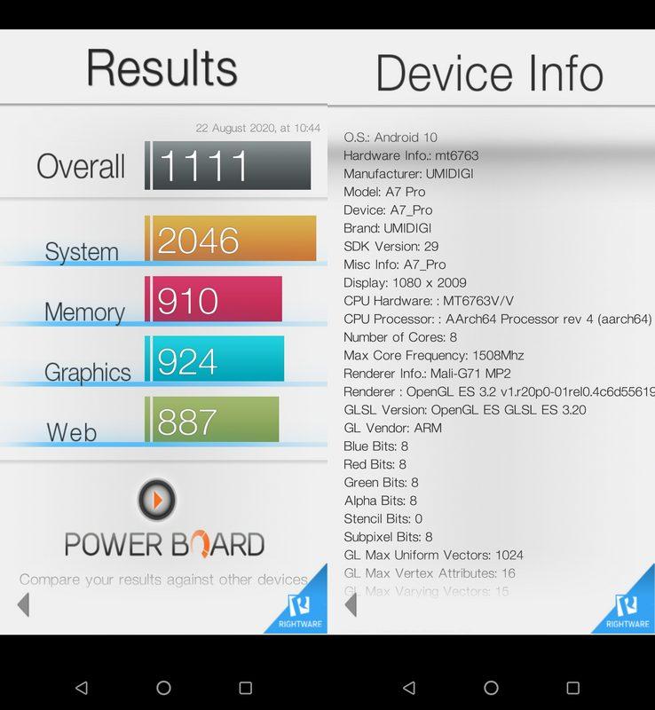 Benchmark Basemark OS II Umidigi A7 Pro