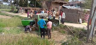जौनपुर : महराजगंज में अनियंत्रित ट्रैक्टर पलटा