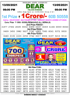 Sikkim State Lottery Result Today 13/05/2021
