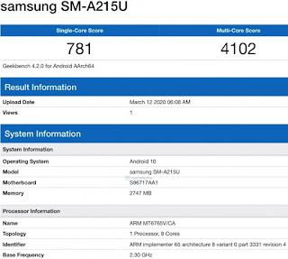 Samsung Galaxy A21 muncul di daftar Geekbench RAM 3GB