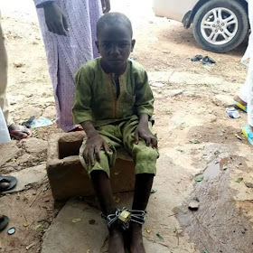 3 - Almajiri boy found chained in Gombe State (photos)