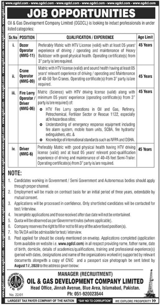 Latest Oil & Gas Development Company Limited OGDCL Jobs 2020