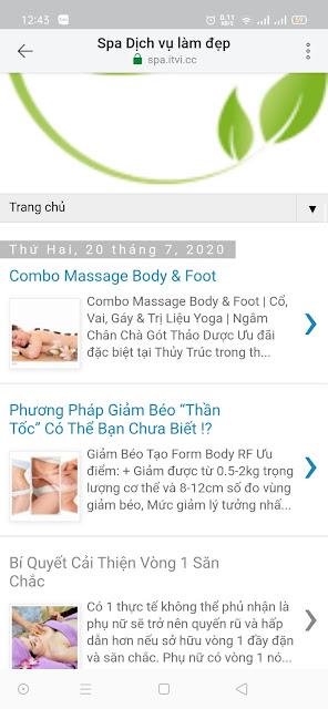 Mẫu website Spa chăm sóc sắc đẹp giao diện điện thoại