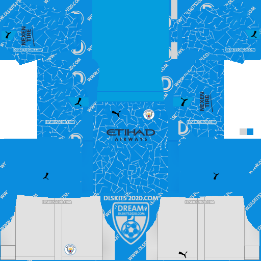 Manchester City Kits 2020-2021 Adidas For Dream League Soccer 2019 (Home)