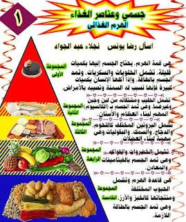 مذكرة شرح درس جسمي وعناصر الغذاء منهج اللغة العربية للصف الثالث الابتدائى ترم اول