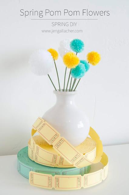 DIY Pom Pom Flowers Tutorial by Jen Gallacher for www.jengallacher.com. #pompoms #pompomflowers #jengallacher #springcraft