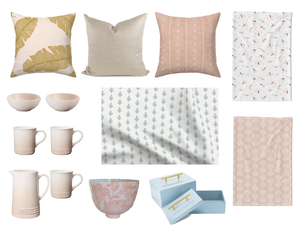 spoonflower home decor, spoonflower pillow, le creuset meringue, jill rosenwald pripet, couture lamp alamont