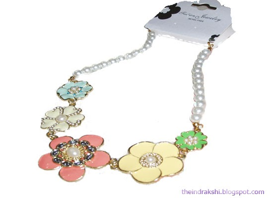 Accessories: Flower-y Necklace and Color Blocking Edgy Bangles