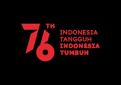 Logo HUT RI 76 Format PNG Warna Merah dengan Tagline