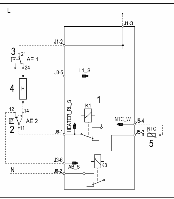 الدائرة الكهربية للسخان  والحساس الحراري في الغسالة الاتوماتيك