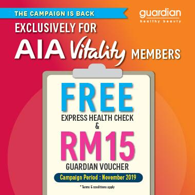 RM15 VOUCHER PERCUMA GUARDIAN X AIA VITALITY