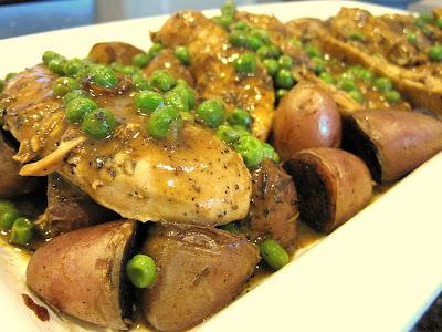 Skillet Chicken Vesuvio on a serving platter