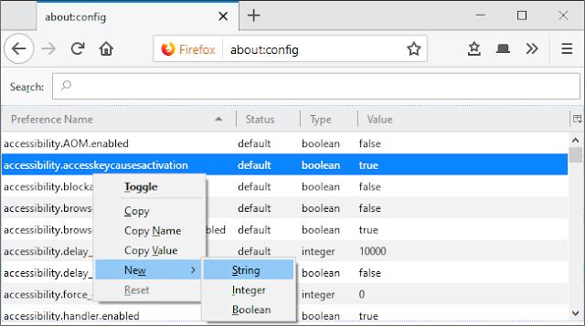 إضافة تفضيلات سلسلة جديدة في فايرفوكس حول: التكوين