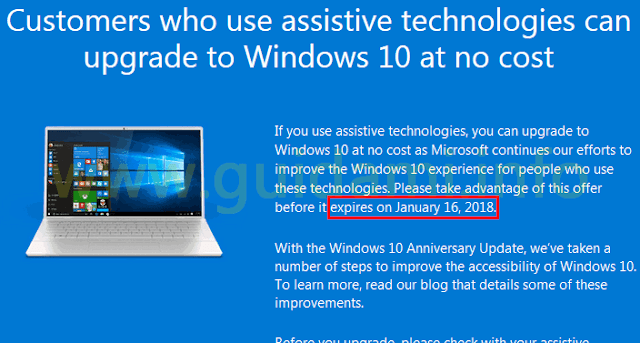 Pagina Microsoft offerta Windows 10 per clienti che usano l'assistive technology