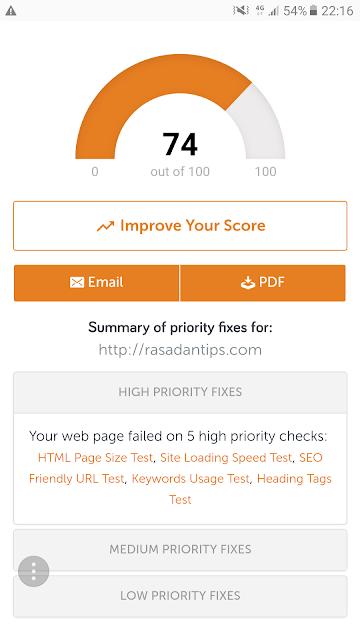 SEO Score Terkini Untuk Blog Rasa Dan Tips Dot Com