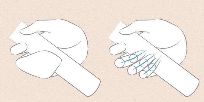 Anime tangan memegang proporsi jari pedang