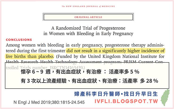 懷孕早期出血使用黃體素 - 照護線上