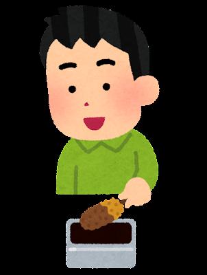 串カツをソースに漬ける人のイラスト