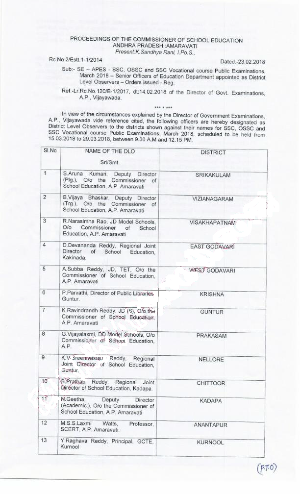 Rc No 2 - OSSC and SSC Vocational Course Public Examinations, March 2018, Senior Officers of Education Department appointed as District Level Observers
