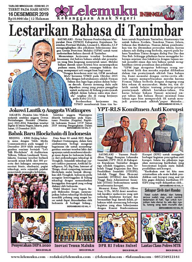 Tabloid Lelemuku #21 - Lestarikan Bahasa Tanimbar - 16 Desember 2019