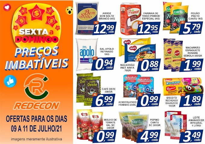 Confira as ofertas da REDECON Supermercado - 9 a 11 de julho