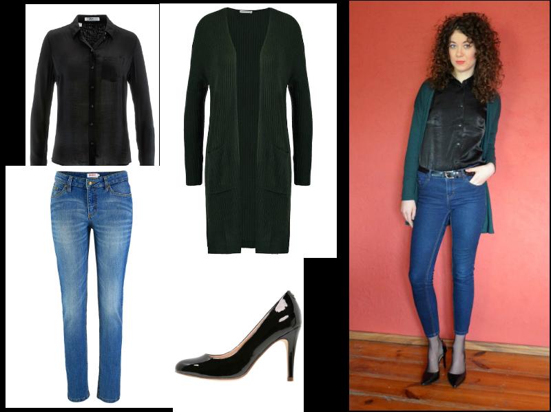 jak się ubrać, stylizacja do pracy, jeansy, czarne szpilki, długi sweter