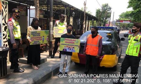 Patroli Sabhara Polres Majalengka Berikan Himbauan Edukasi Pendisiplinan masyarakat Agar Patuhi Prokes