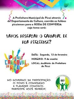 Prefeitura de Picuí convida agitadores de blocos carnavalescos para reunião