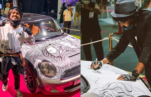 Mini Cooper as canvas; Live art performance by Sijin Gopinathan; First time in World Art Dubai