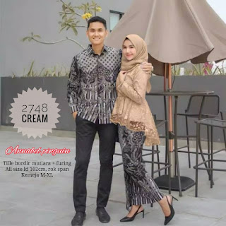 BAJU BATIK COUPLE MODEL SETELAN ROK KATUN MIX BLUS TILE BORDIR TERBARU T2748