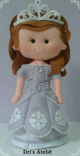 Princesa Sofia com molde de feltro