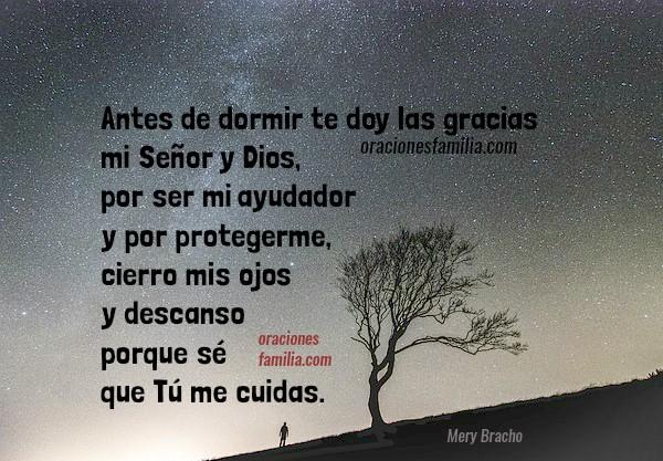 Frases con oraciones de buenas noches con imágenes para facebook por Mery Bracho. Oración de la noche antes de dormir.