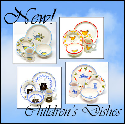handmade hand painted pottery children's dishes