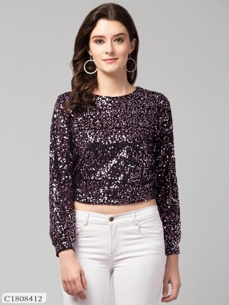 Womens Velvet Sequin Top Online Shopping | Top For Women Online Shopping |