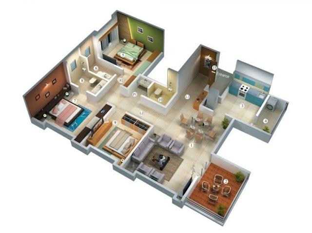minimalist house plans 3 rooms leter l