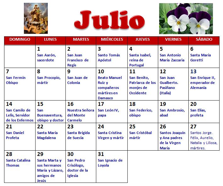 Calendario Santoral 2019.Mi Parroquia De Los Doce Apostoles Santoral Del Mes De Julio