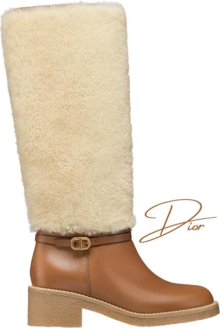 Brown calfskin & shearling Dior J'Adior D-Furious boots #brilliantluxury